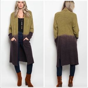 Sweaters - Olive maxi oversized duster